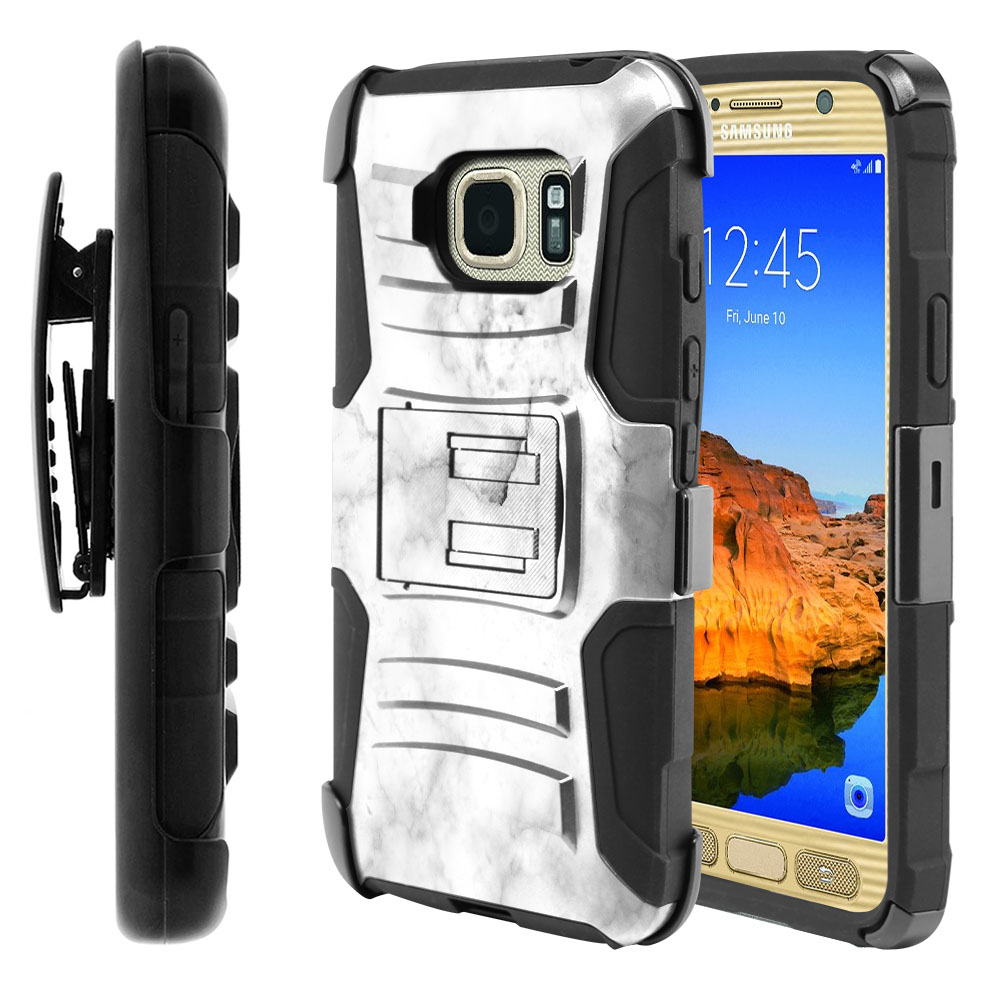 Samsung Galaxy S7 Active G891 Hybrid Rigid Stand Holster Grey Cloudy Marble Protector Cover Case