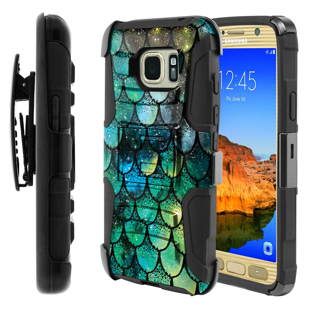 Samsung Galaxy S7 Active G891 Hybrid Rigid Stand Holster Green Mermaid Scales Protector Cover Case