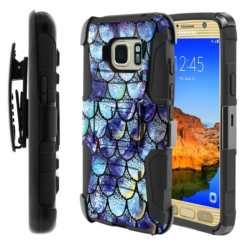 Samsung Galaxy S7 Active G891 Hybrid Rigid Stand Holster Purple Mermaid Scales Protector Cover Case