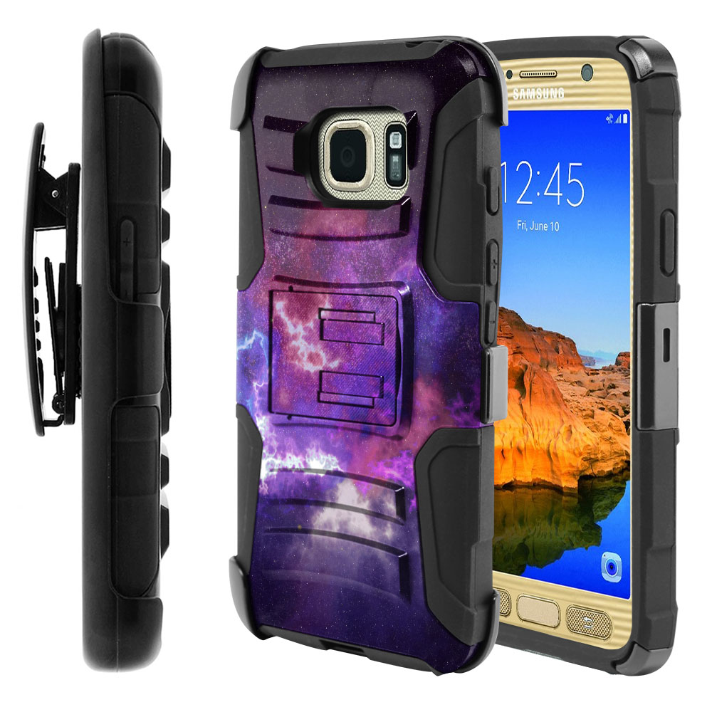 Samsung Galaxy S7 Active G891 Hybrid Rigid Stand Holster Purple Nebula Space Protector Cover Case