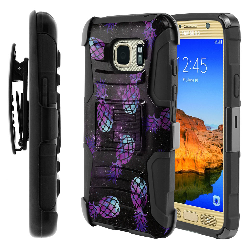Samsung Galaxy S7 Active G891 Hybrid Rigid Stand Holster Purple Pineapples Galaxy Protector Cover Case