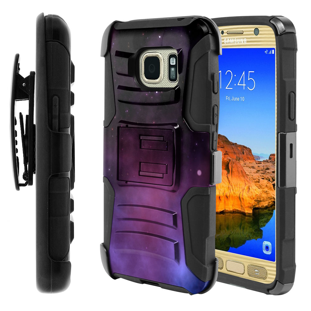 Samsung Galaxy S7 Active G891 Hybrid Rigid Stand Holster Purple Space Stars Protector Cover Case