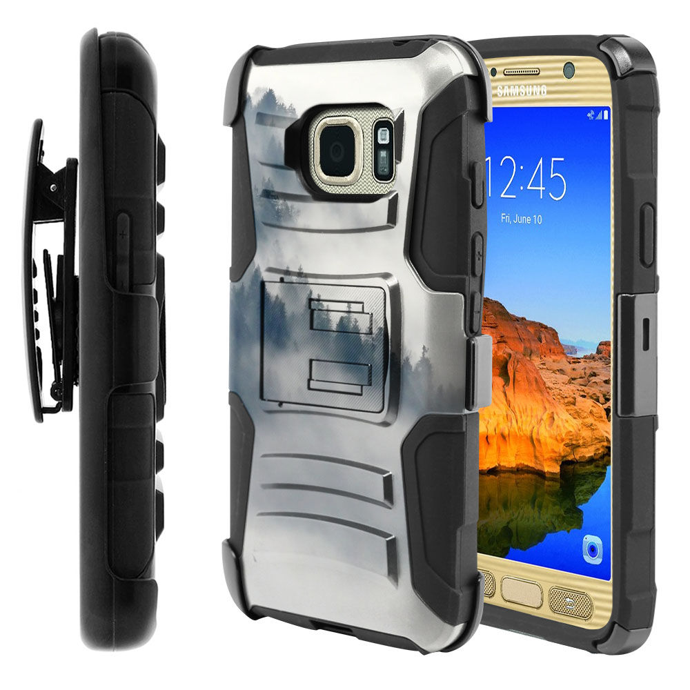 Samsung Galaxy S7 Active G891 Hybrid Rigid Stand Holster Winter Trees Protector Cover Case