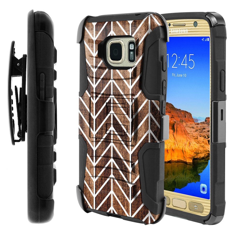 Samsung Galaxy S7 Active G891 Hybrid Rigid Stand Holster Modern Chevron Wood Protector Cover Case