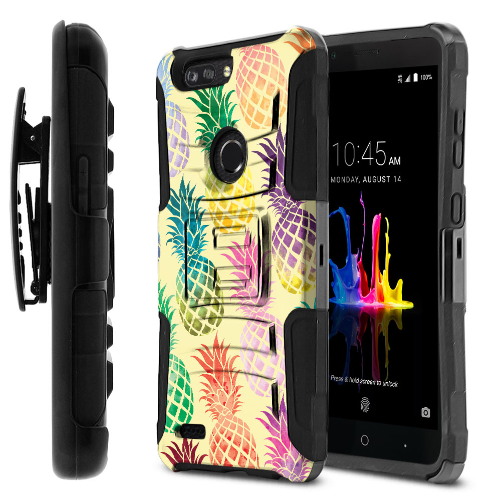 ZTE Blade Z Max Z982/ Sequoia Hybrid Rigid Stand Holster Pastel Colorful Pineapple Yellow Pastel Protector Cover Case