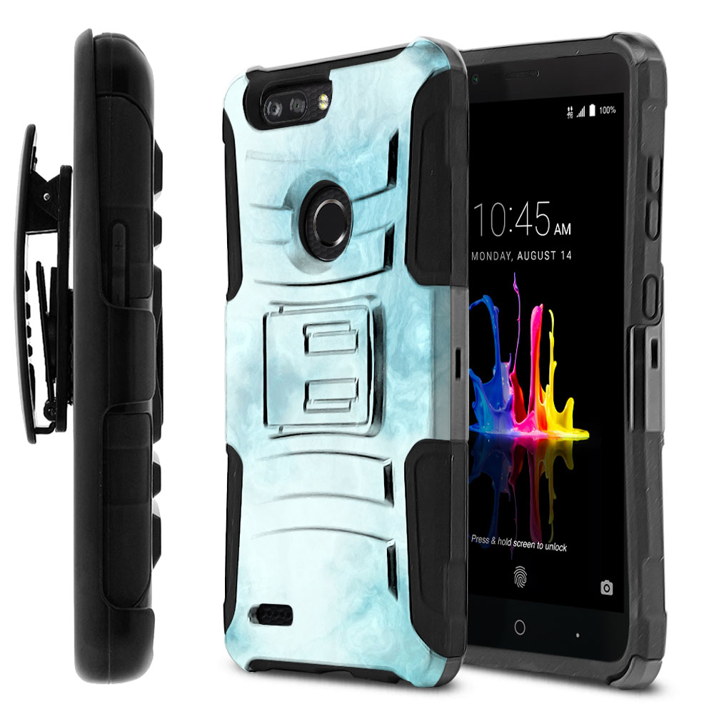 ZTE Blade Z Max Z982/ Sequoia Hybrid Rigid Stand Holster Blue Cloudy Marble Protector Cover Case