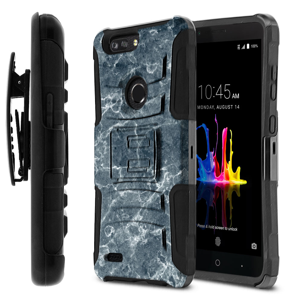 ZTE Blade Z Max Z982/ Sequoia Hybrid Rigid Stand Holster Blue Stone Marble Protector Cover Case