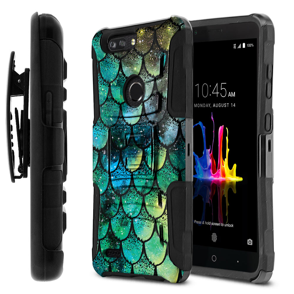 ZTE Blade Z Max Z982/ Sequoia Hybrid Rigid Stand Holster Green Mermaid Scales Protector Cover Case