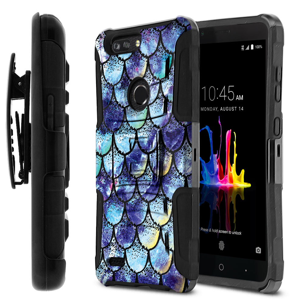 ZTE Blade Z Max Z982/ Sequoia Hybrid Rigid Stand Holster Purple Mermaid Scales Protector Cover Case