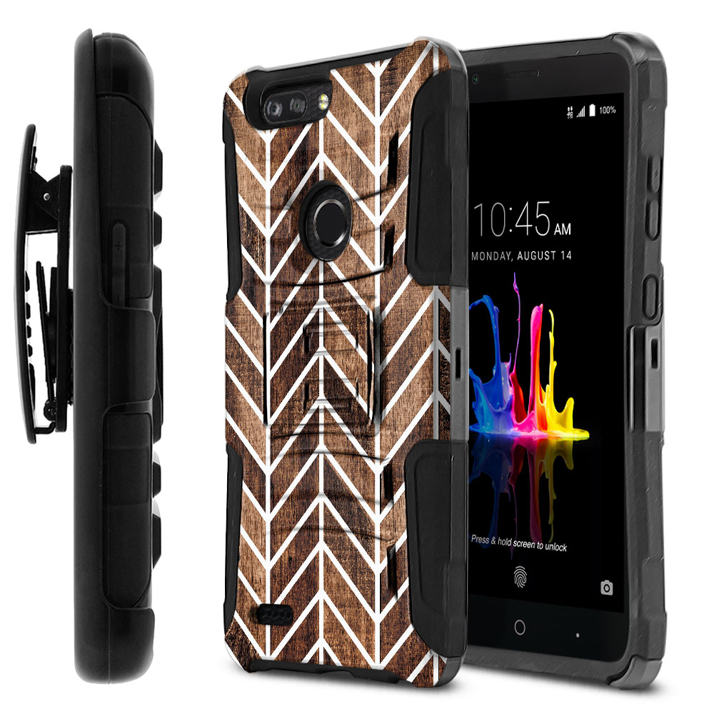 ZTE Blade Z Max Z982/ Sequoia Hybrid Rigid Stand Holster Modern Chevron Wood Protector Cover Case