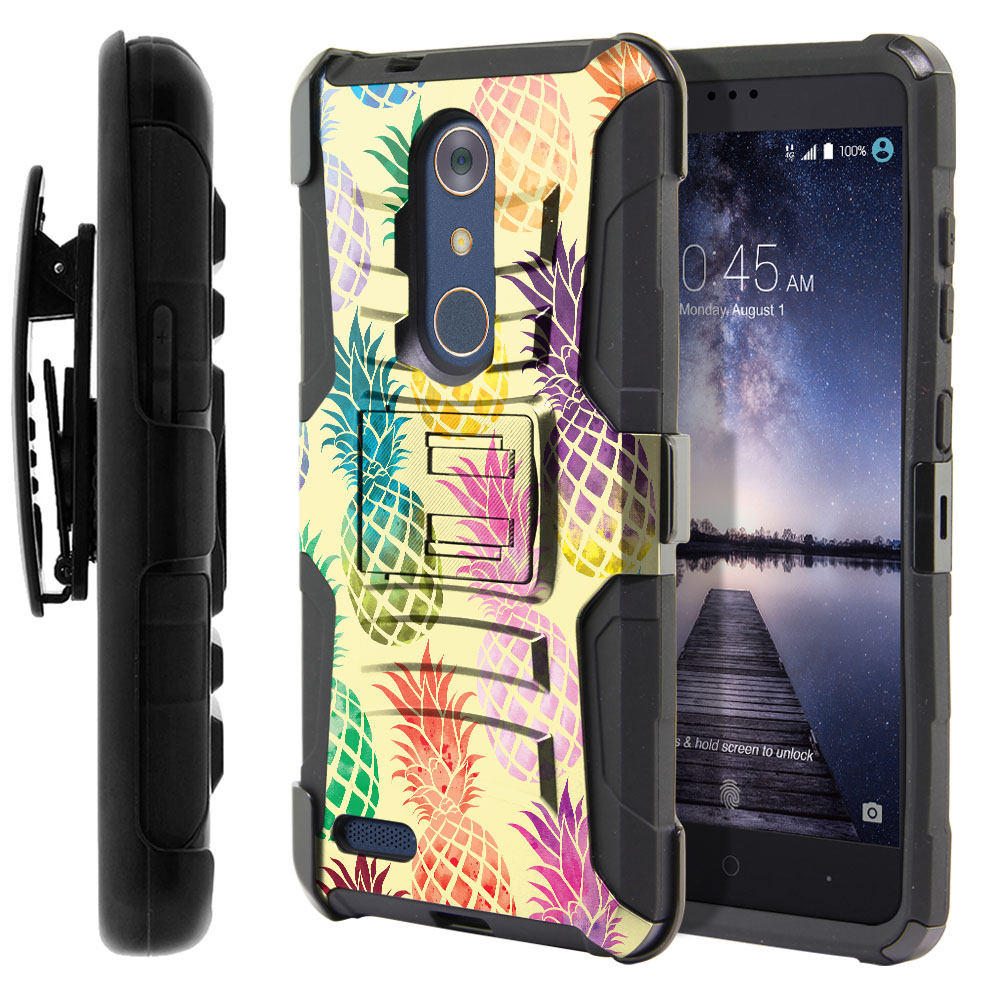 ZTE Zmax Pro Carry Z981 Hybrid Rigid Stand Holster Pastel Colorful Pineapple Yellow Pastel Protector Cover Case