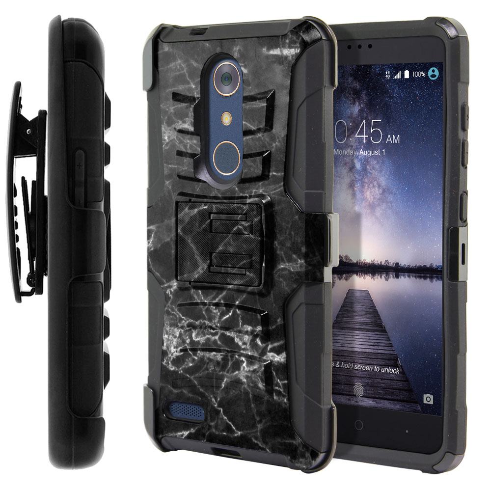 ZTE Zmax Pro Carry Z981 Hybrid Rigid Stand Holster Black Stone Marble Protector Cover Case