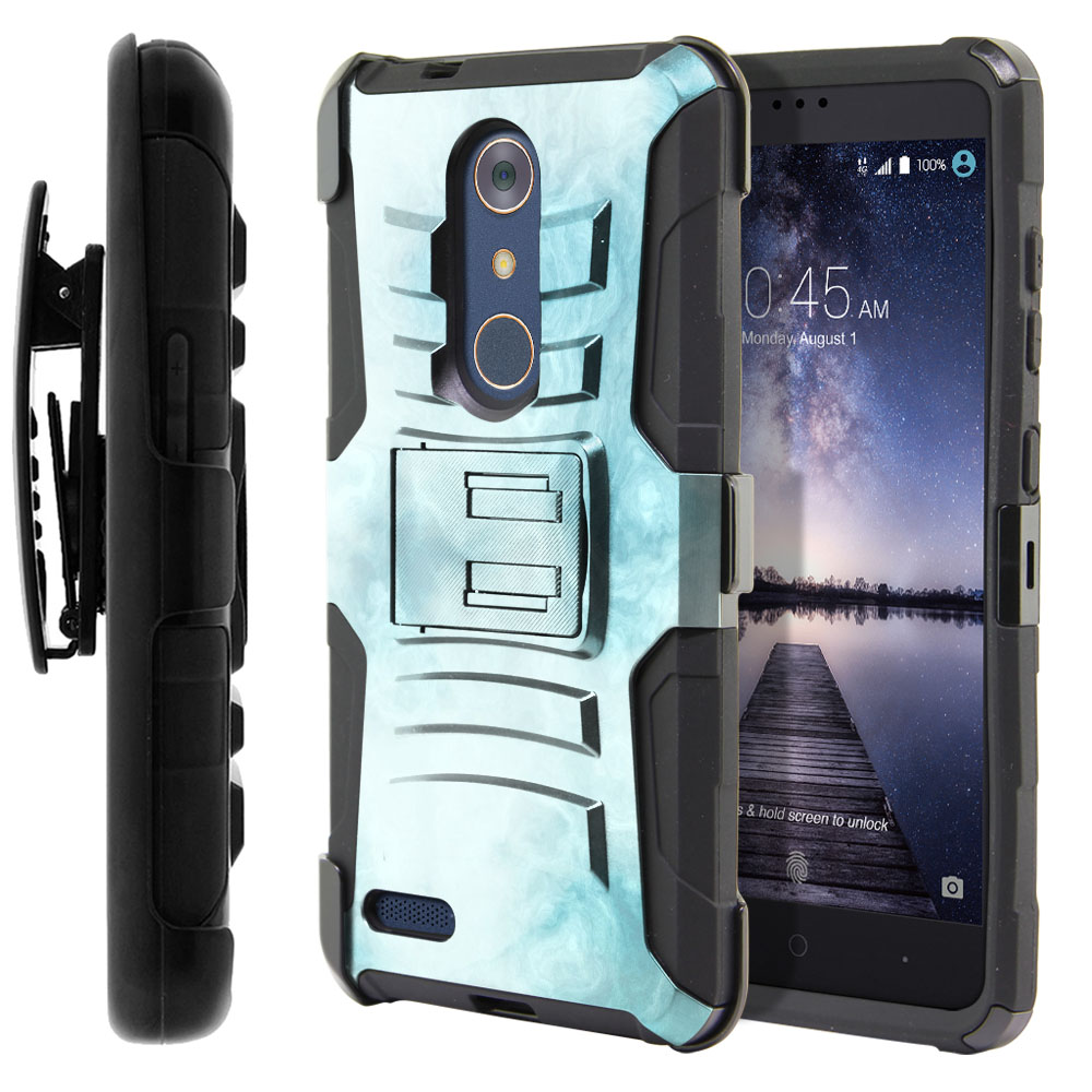 ZTE Zmax Pro Carry Z981 Hybrid Rigid Stand Holster Blue Cloudy Marble Protector Cover Case