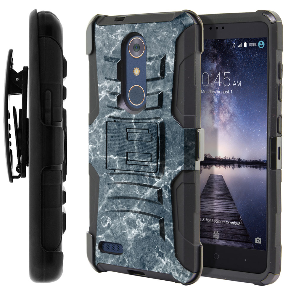 ZTE Zmax Pro Carry Z981 Hybrid Rigid Stand Holster Blue Stone Marble Protector Cover Case
