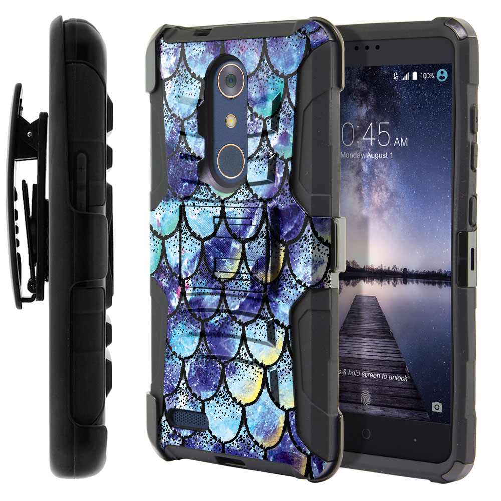 ZTE Zmax Pro Carry Z981 Hybrid Rigid Stand Holster Purple Mermaid Scales Protector Cover Case