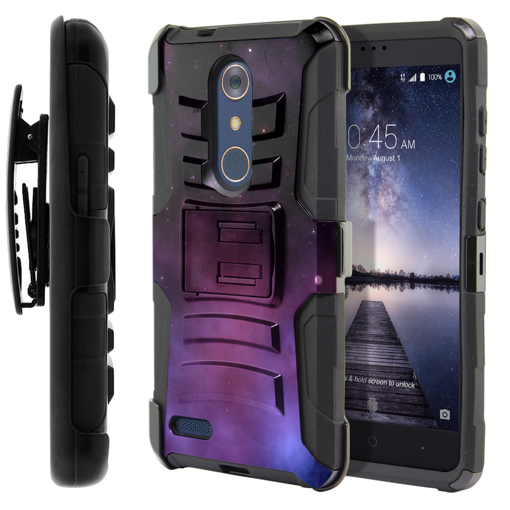 ZTE Zmax Pro Carry Z981 Hybrid Rigid Stand Holster Purple Space Stars Protector Cover Case