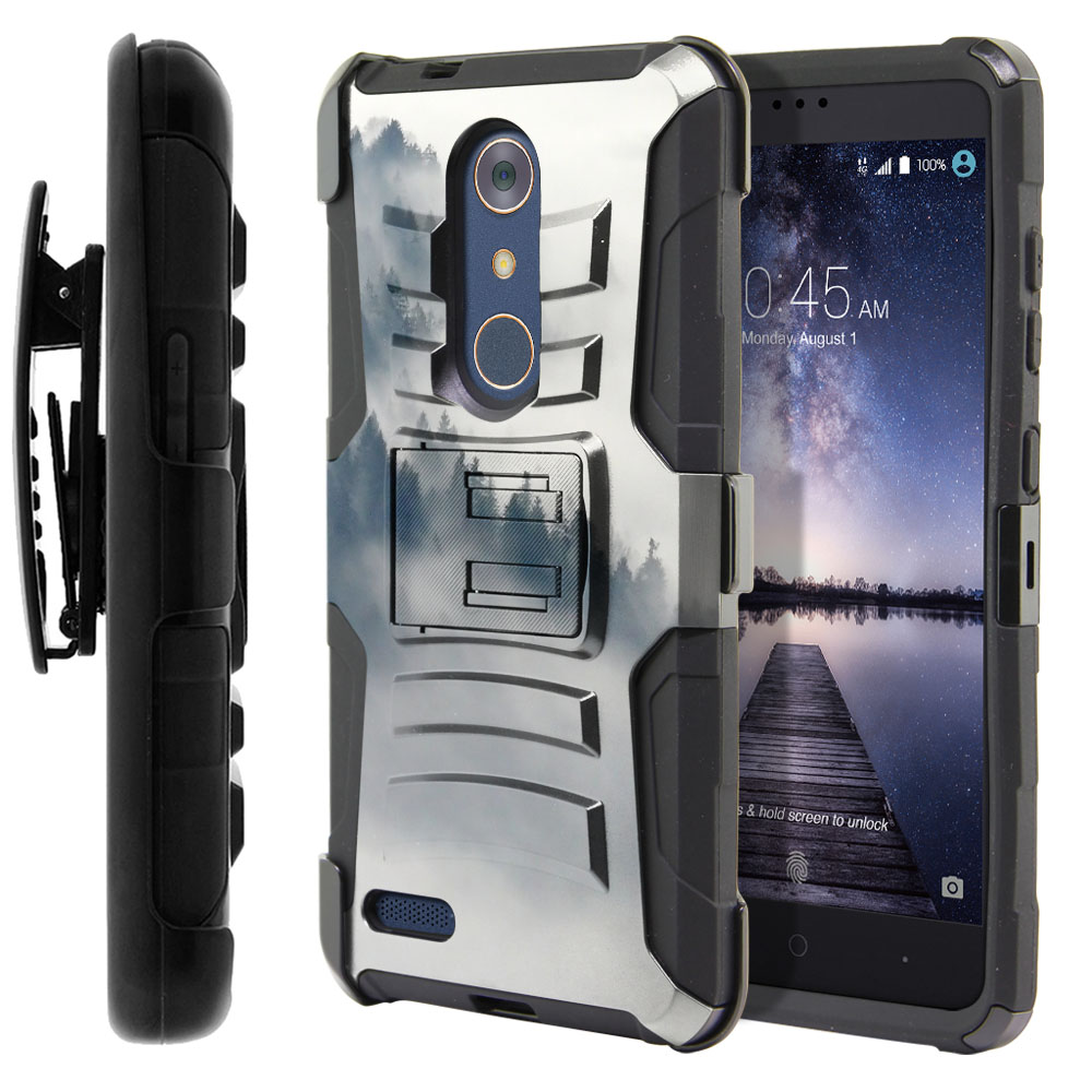 ZTE Zmax Pro Carry Z981 Hybrid Rigid Stand Holster Winter Trees Protector Cover Case