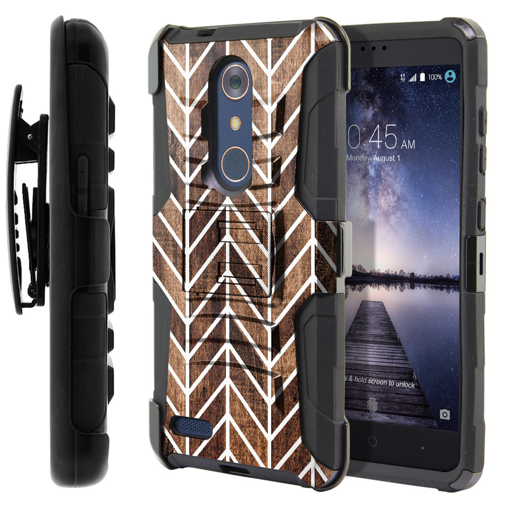 ZTE Zmax Pro Carry Z981 Hybrid Rigid Stand Holster Modern Chevron Wood Protector Cover Case