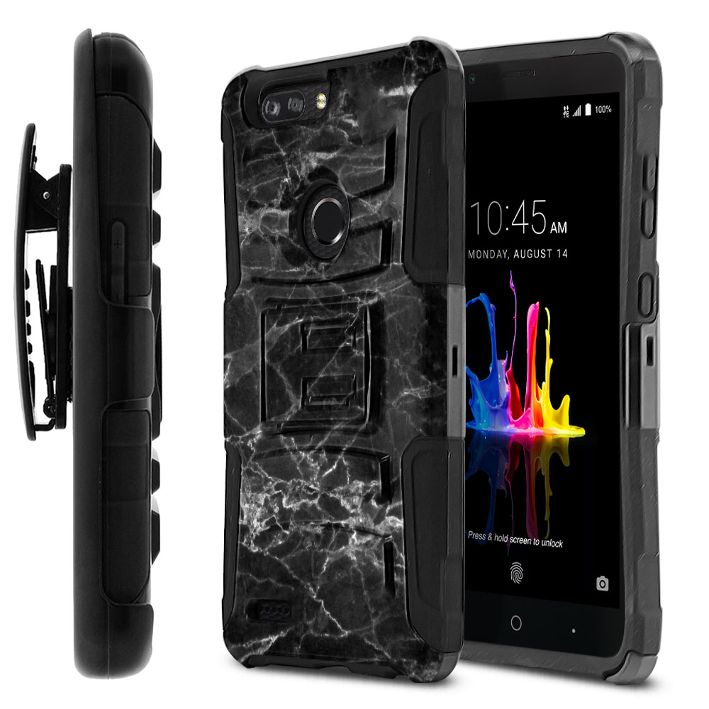 ZTE Blade Z Max Z982/ Sequoia Hybrid Rigid Stand Holster Black Stone Marble Protector Cover Case