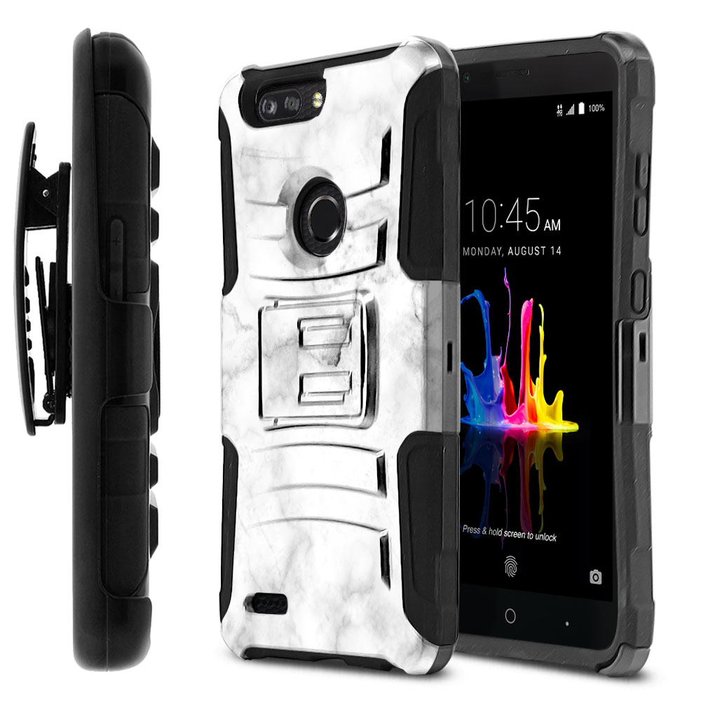 ZTE Blade Z Max Z982/ Sequoia Hybrid Rigid Stand Holster Grey Cloudy Marble Protector Cover Case