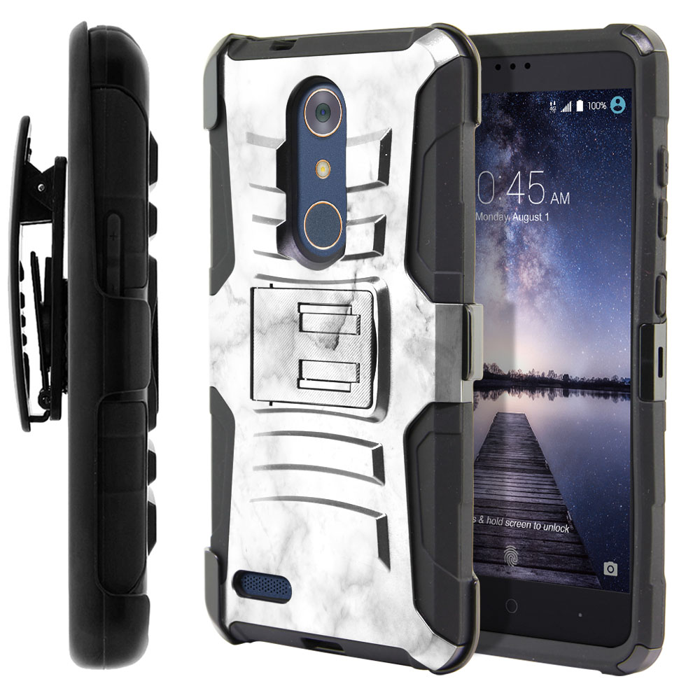 ZTE Zmax Pro Carry Z981 Hybrid Rigid Stand Holster Grey Cloudy Marble Protector Cover Case