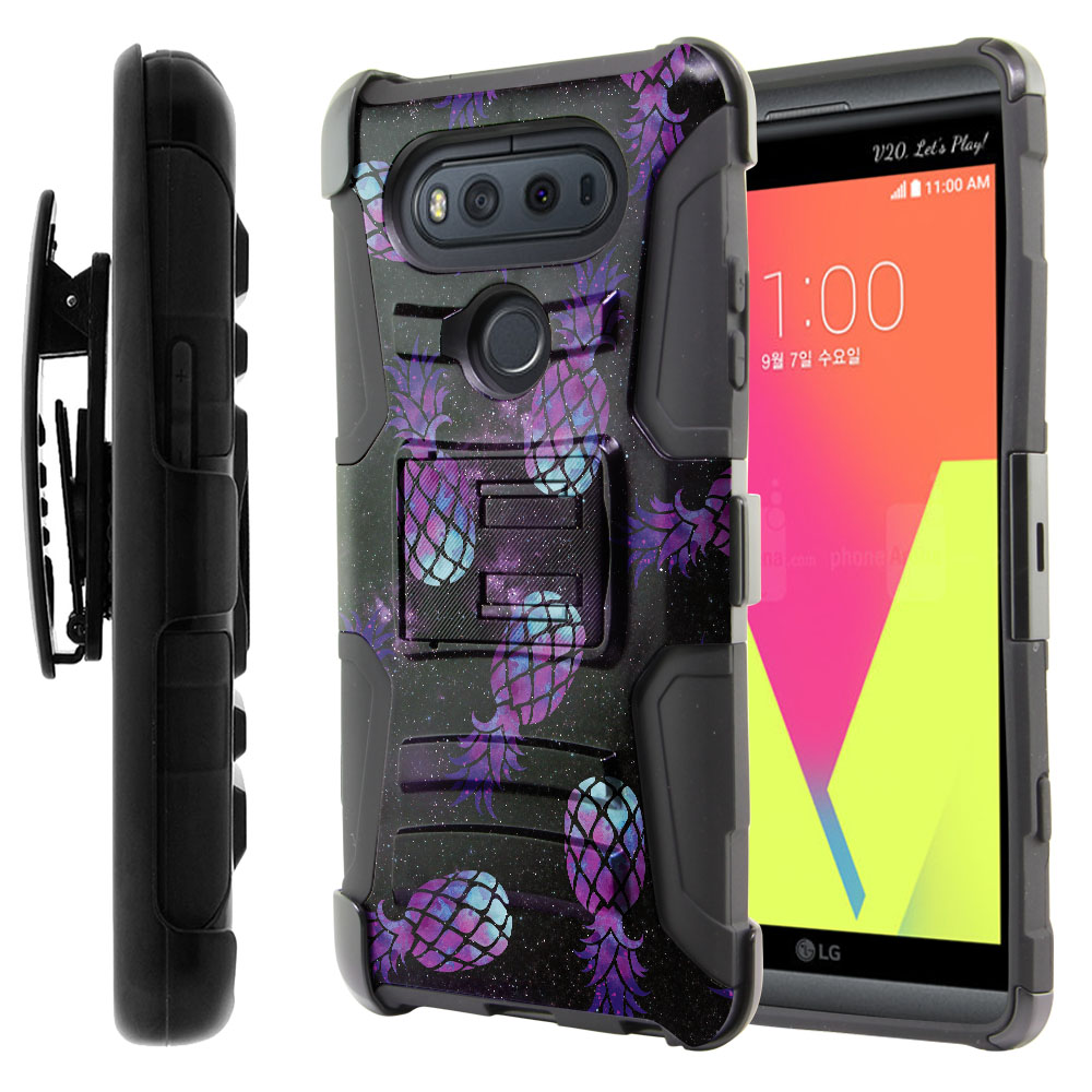 LG V20-LG VS995 H990 LS997 H910 H918 US996 Hybrid Rigid Stand Holster Purple Pineapples Galaxy Protector Cover Case