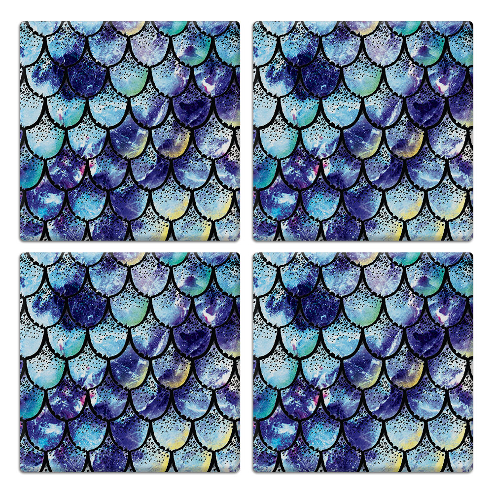 Purple Mermaid Scales 4pcs Set Design Square Ceramic Coaster