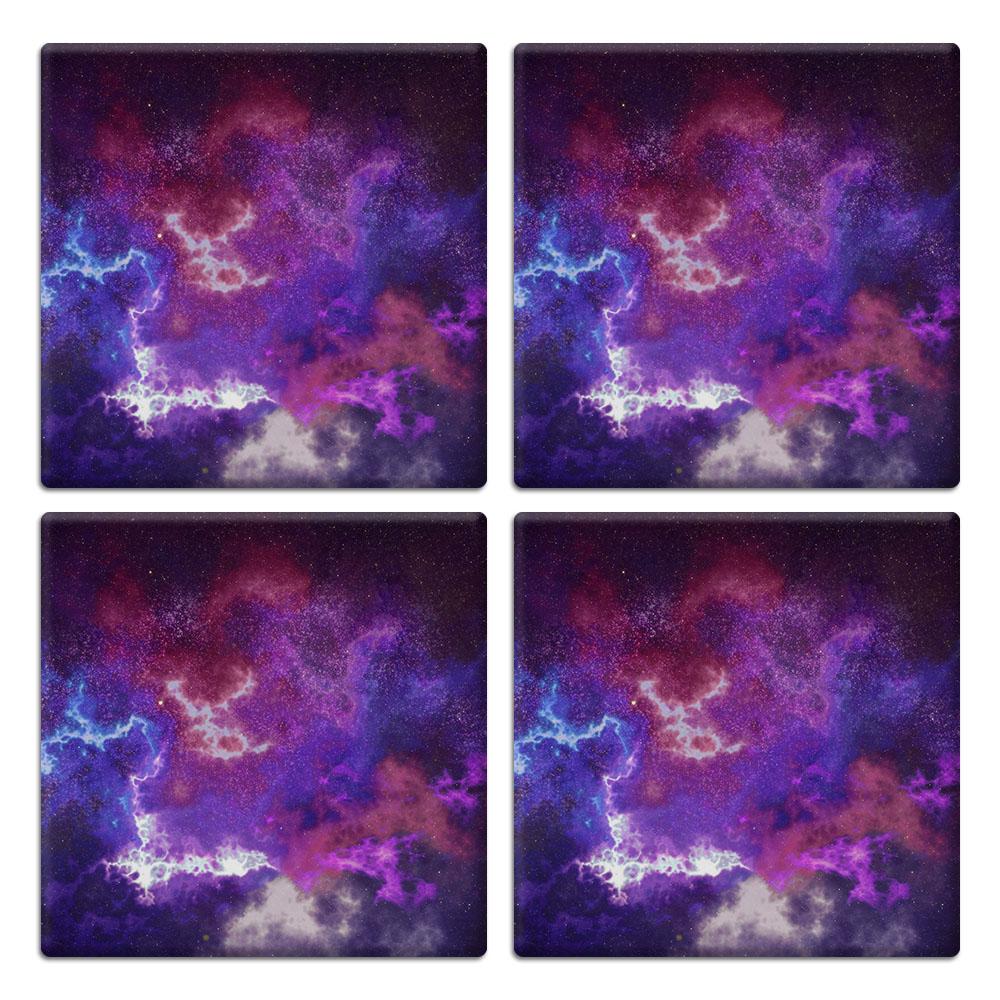 Purple Nebula Space 4pcs Set Design Square Ceramic Coaster