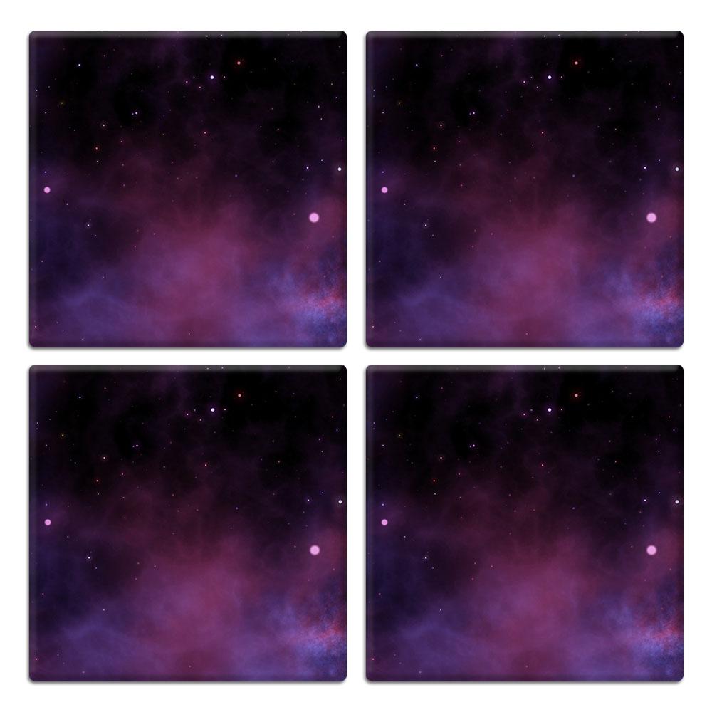 Purple Space Stars 4pcs Set Design Square Ceramic Coaster