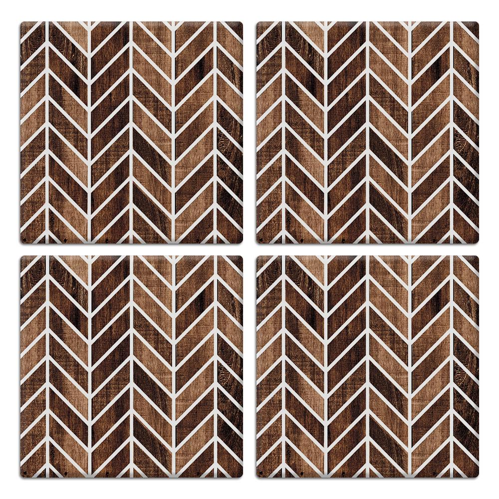 Modern Chevron Wood 4pcs Set Design Square Ceramic Coaster