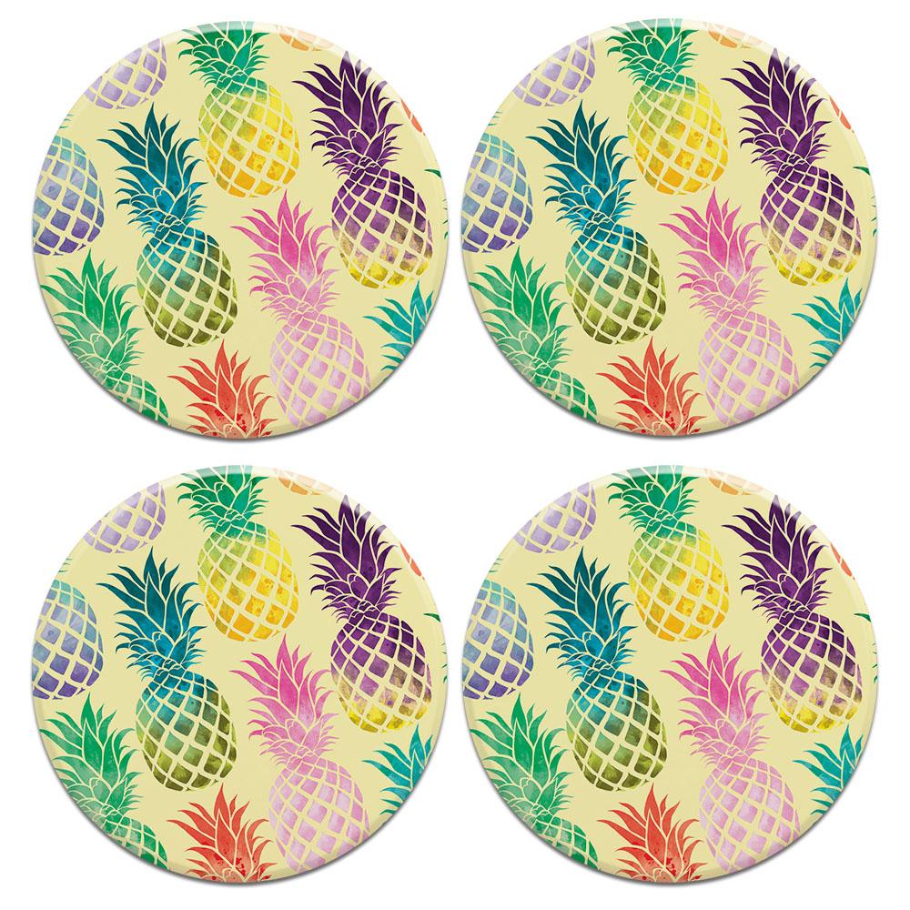 Pastel Colorful Pineapple Yellow Pastel 4pcs Set Design Round Ceramic Coaster