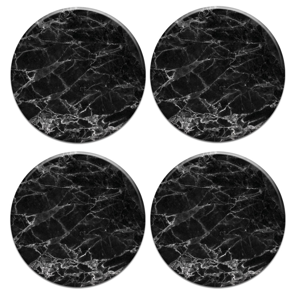 Black Stone Marble 4pcs Set Design Round Ceramic Coaster