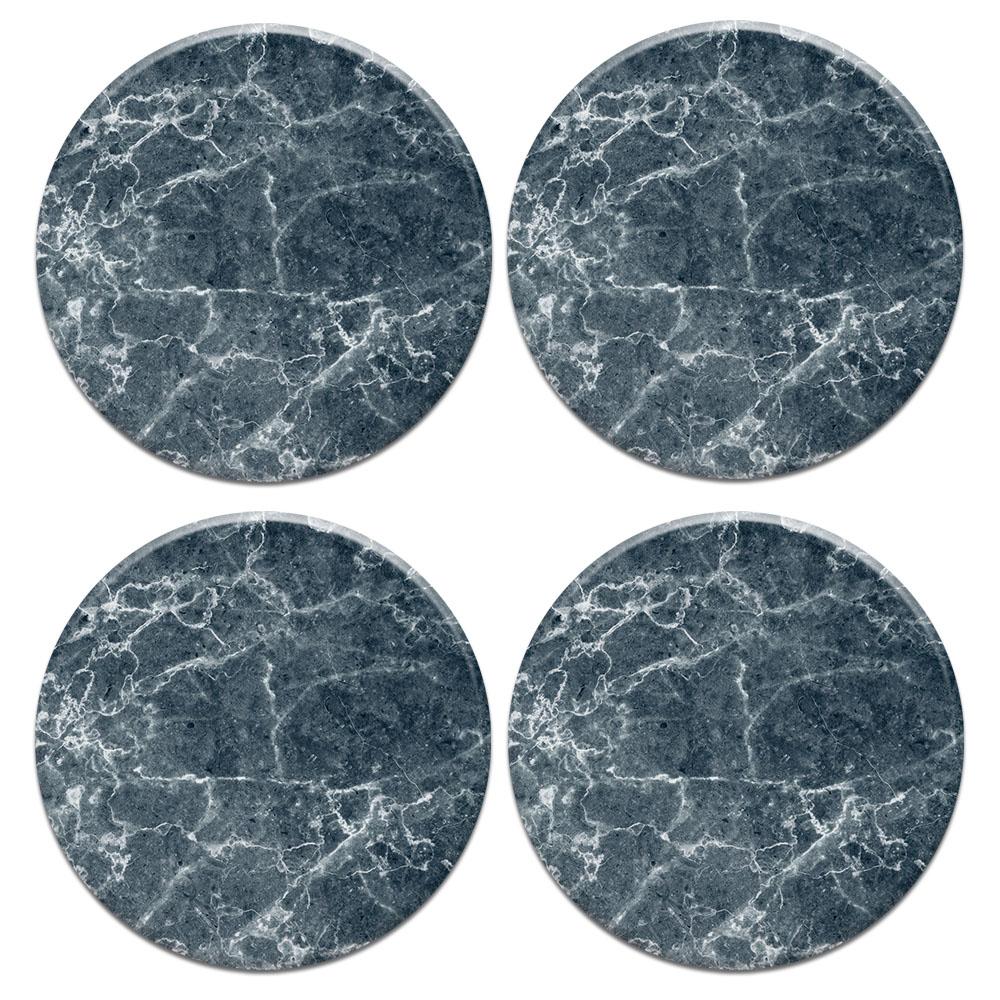 Blue Stone Marble 4pcs Set Design Round Ceramic Coaster