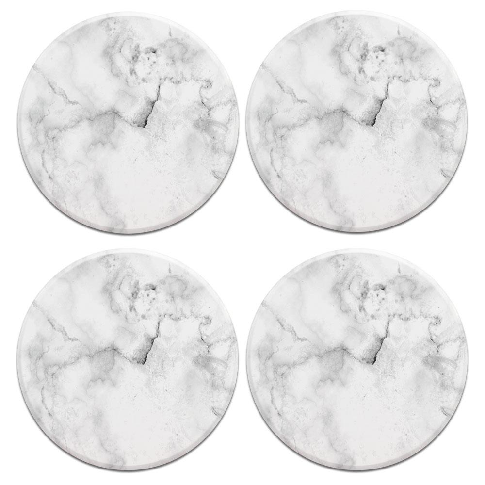 Grey Cloudy Marble 4pcs Set Design Round Ceramic Coaster
