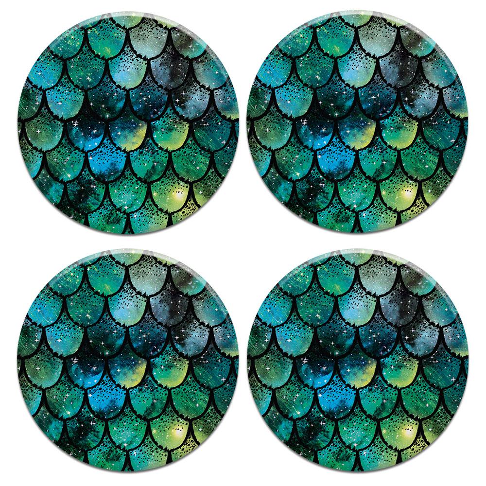 Green Mermaid Scales 4pcs Set Design Round Ceramic Coaster