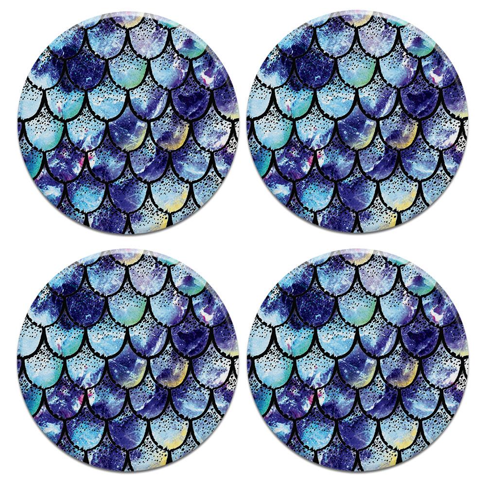 Purple Mermaid Scales 4pcs Set Design Round Ceramic Coaster