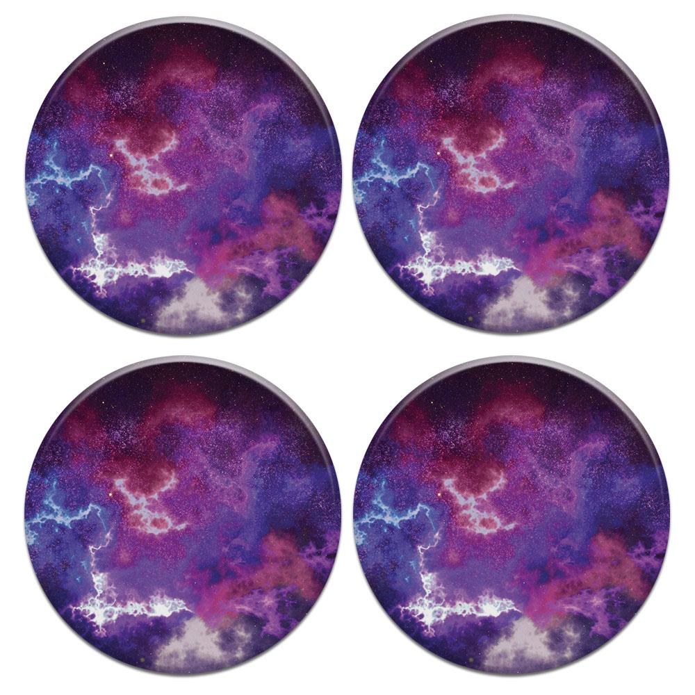 Purple Nebula Space 4pcs Set Design Round Ceramic Coaster