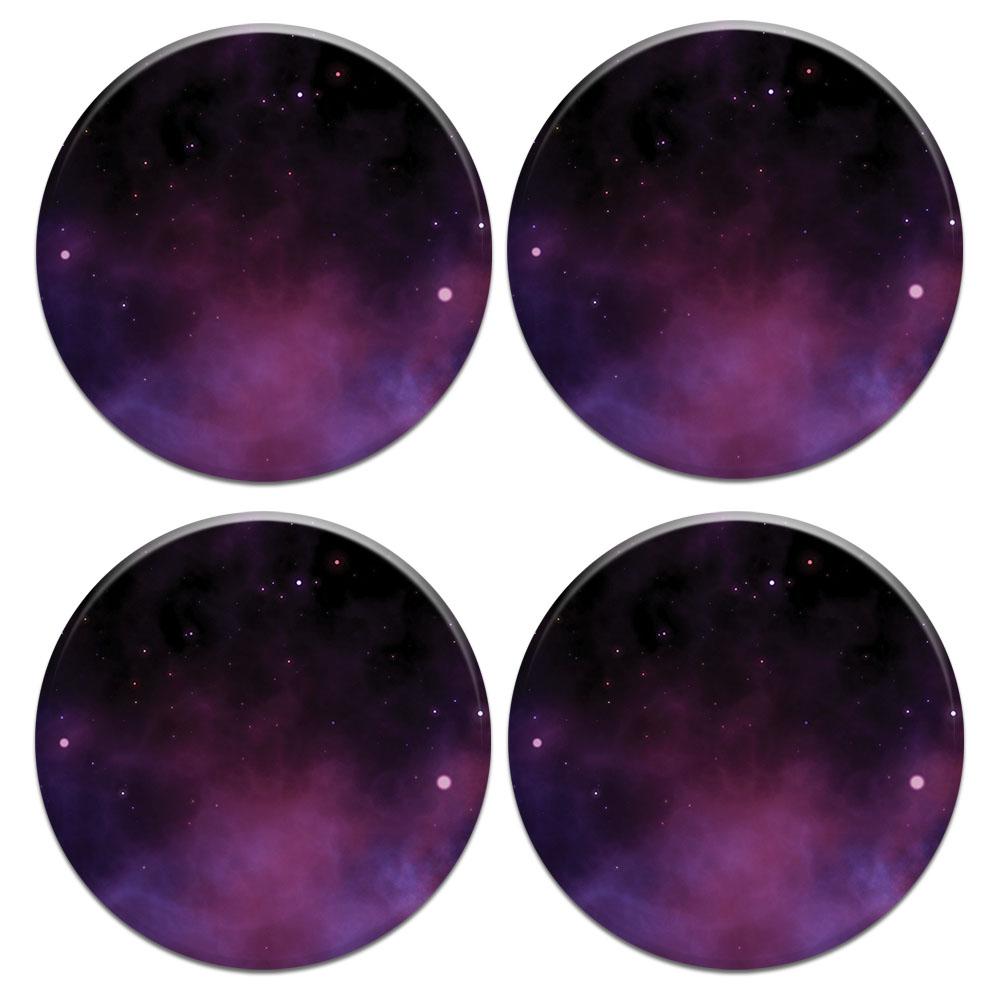Purple Space Stars 4pcs Set Design Round Ceramic Coaster