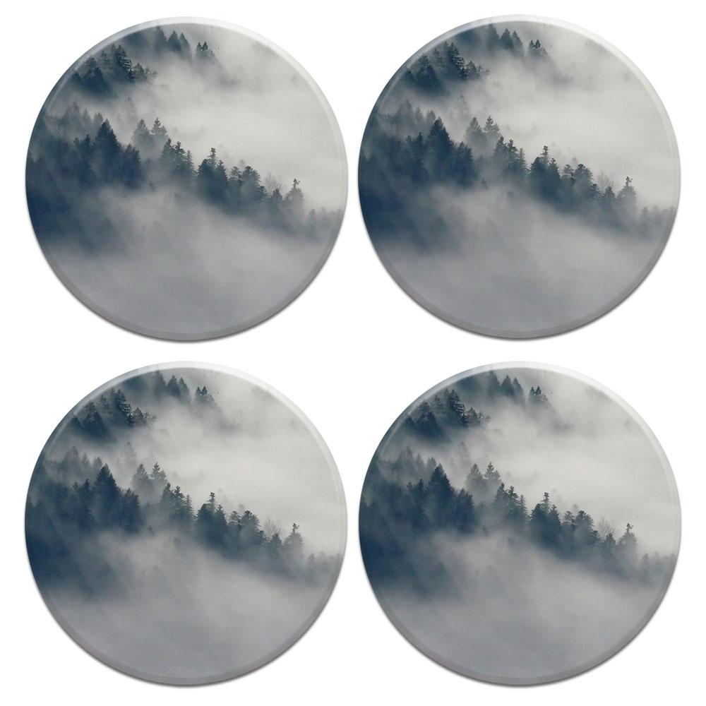 Winter Trees 4pcs Set Design Round Ceramic Coaster