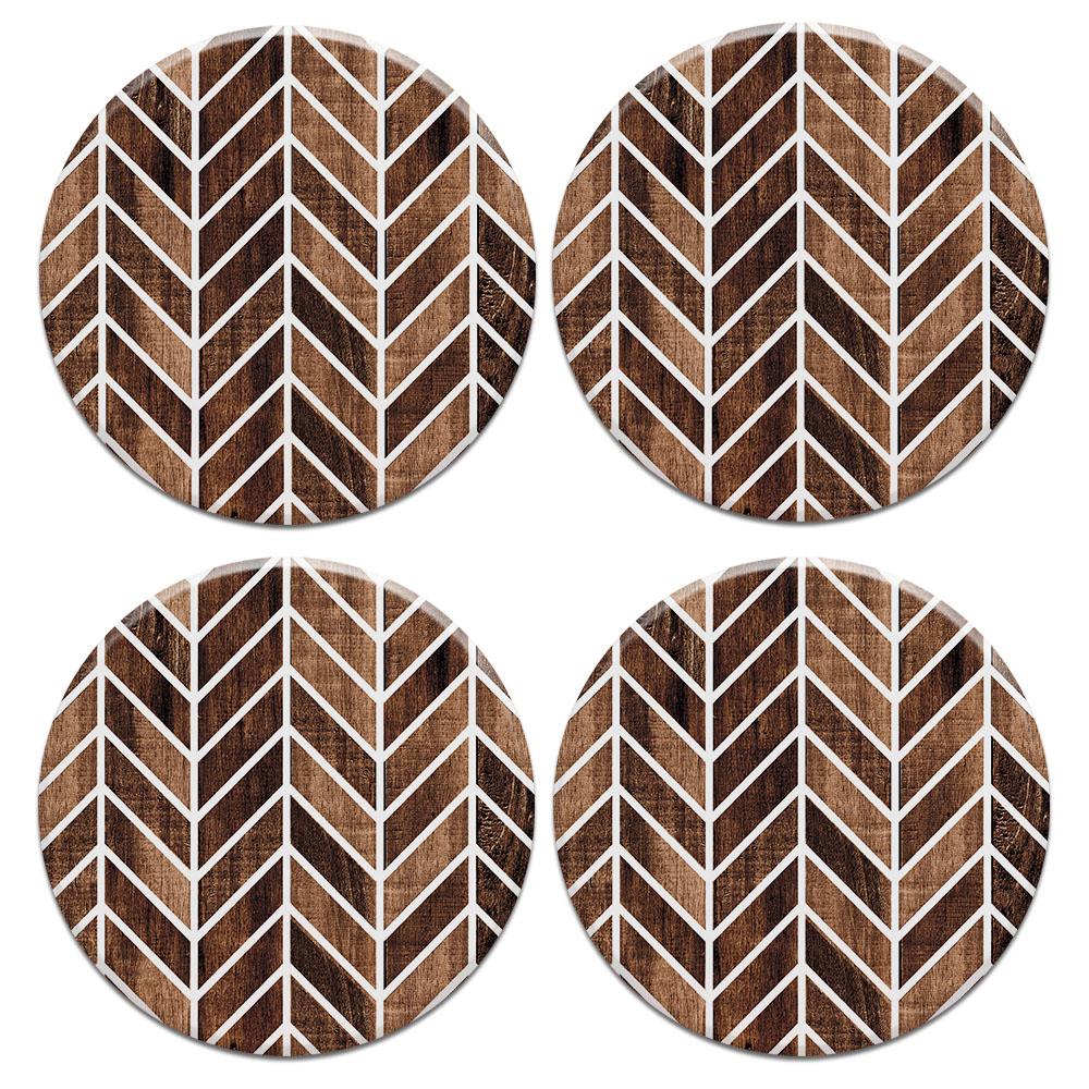 Modern Chevron Wood 4pcs Set Design Round Ceramic Coaster