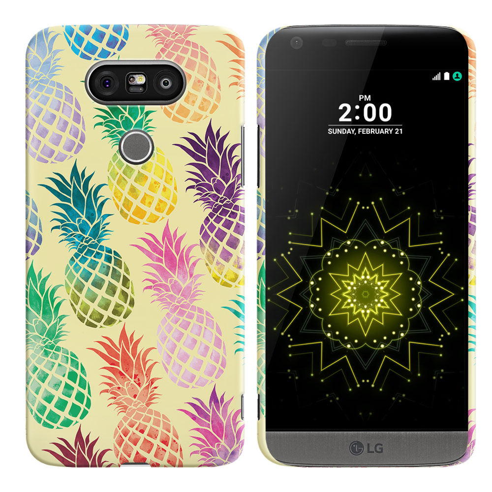LG G5 H850 VS987 Pastel Colorful Pineapple Yellow Pastel Back Cover Case
