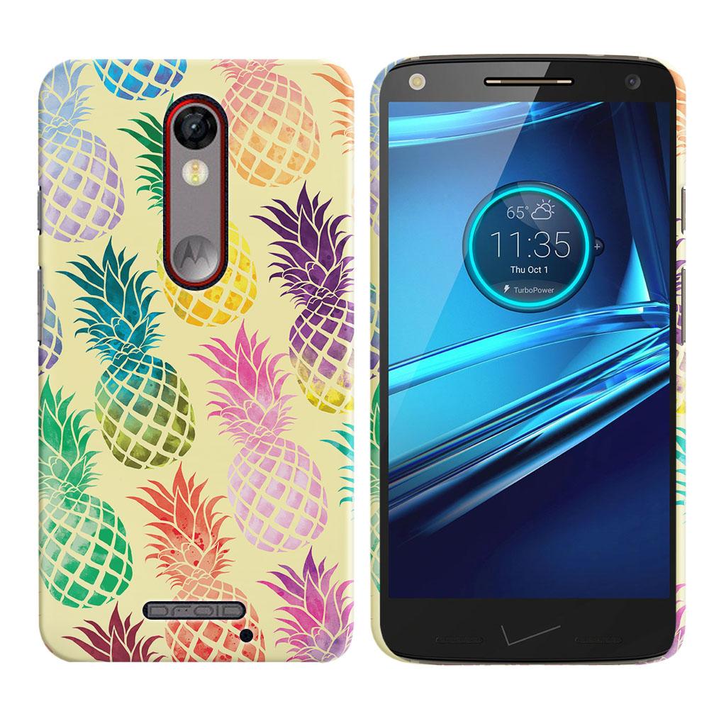 Motorola Droid Turbo 2 Kinzie XT1585 Pastel Colorful Pineapple Yellow Pastel Back Cover Case