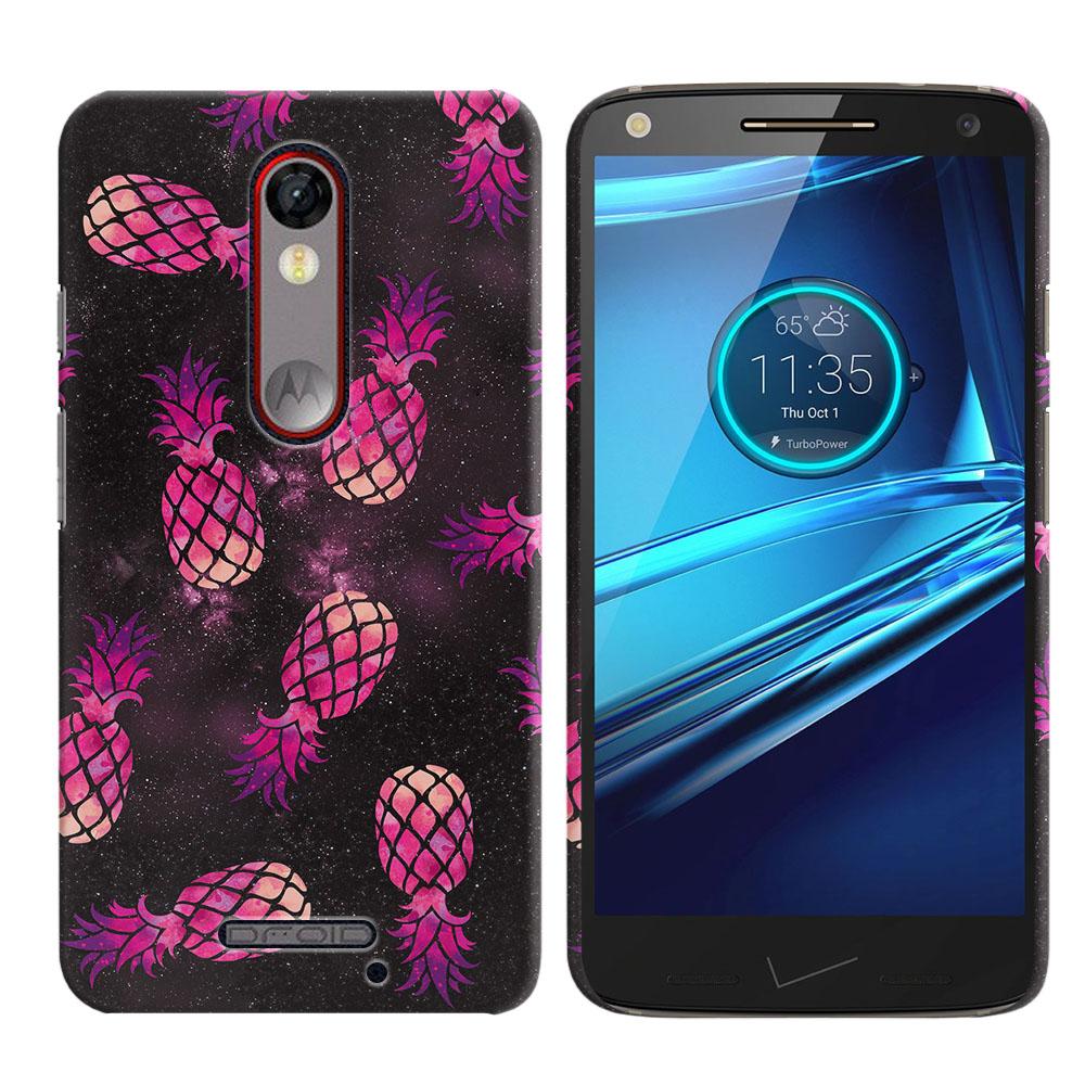 Motorola Droid Turbo 2 Kinzie XT1585 Hot Pink Pineapple Pattern In Galaxy Back Cover Case
