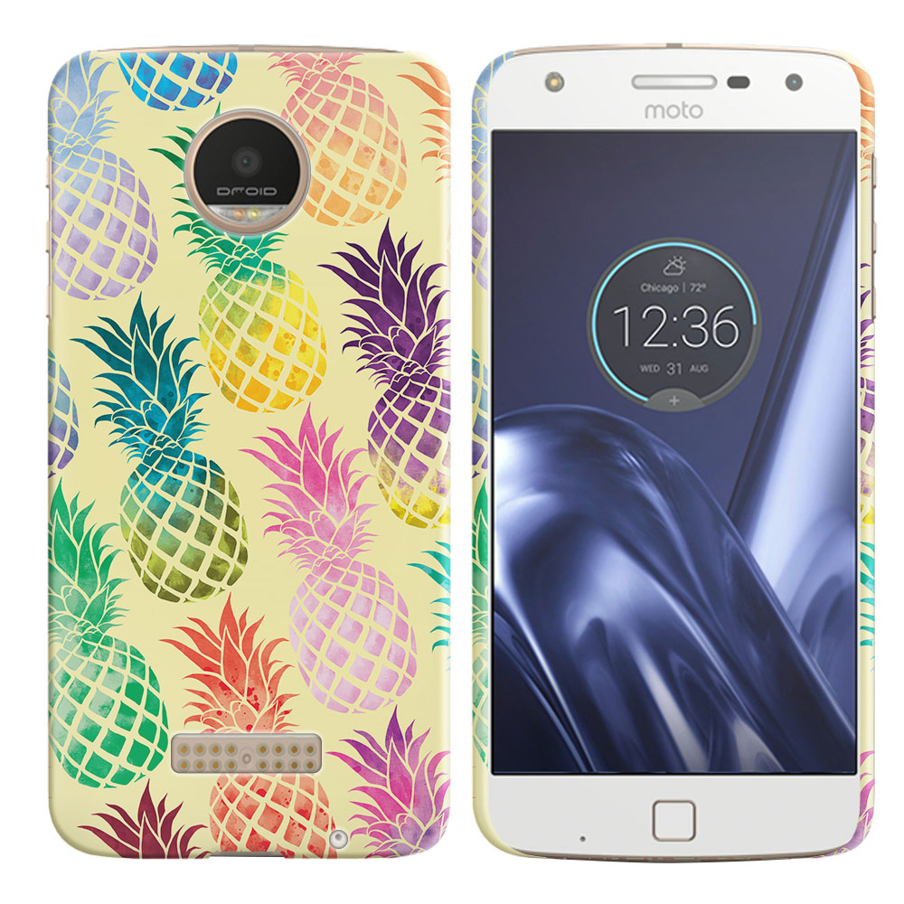 Motorola Moto Z Play Droid XT1635 Pastel Colorful Pineapple Yellow Pastel Back Cover Case