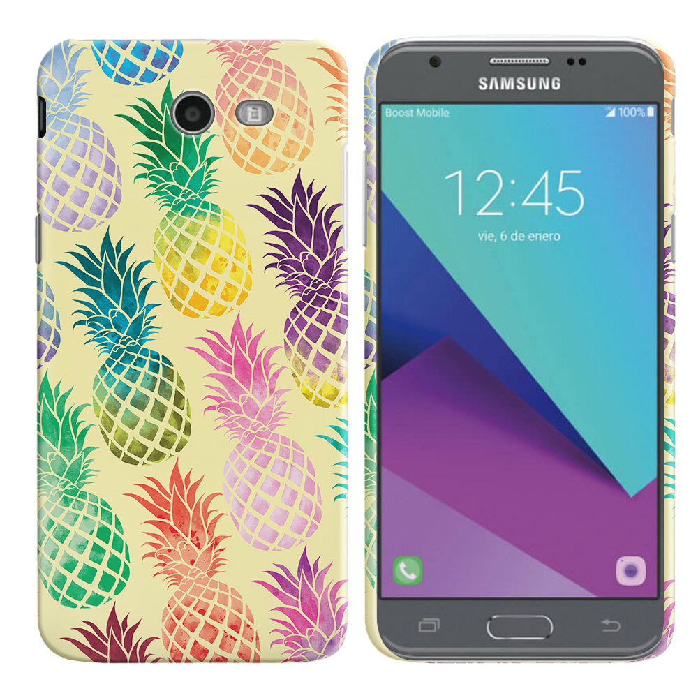 Samsung Galaxy J3 Emerge J327 2017 2nd Gen Pastel Colorful Pineapple Yellow Pastel Back Cover Case
