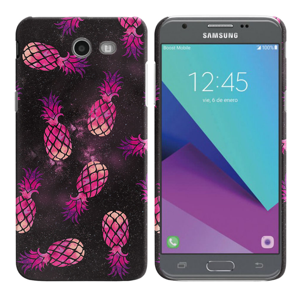 Samsung Galaxy J3 Emerge J327 2017 2nd Gen Hot Pink Pineapple Pattern In Galaxy Back Cover Case
