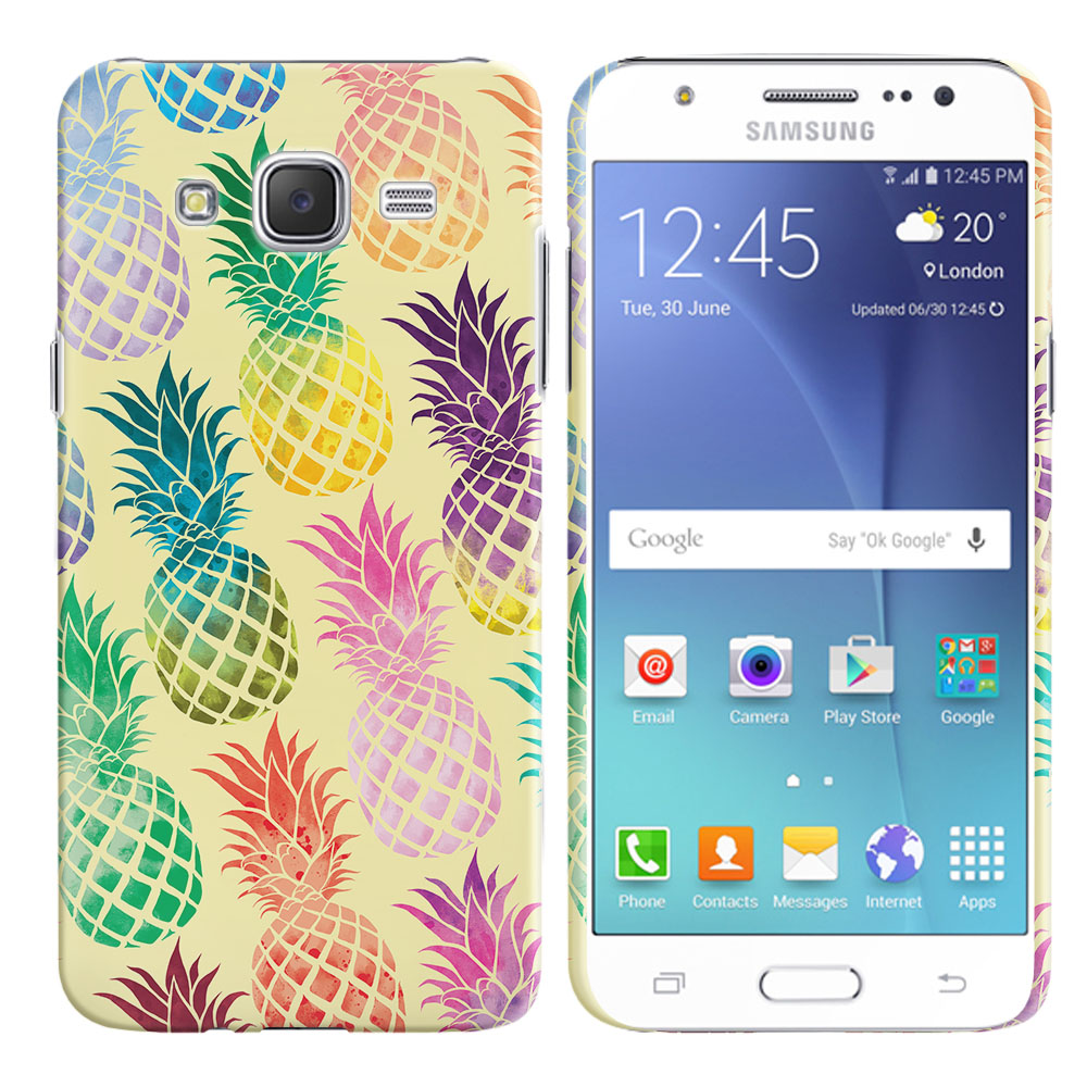 Samsung Galaxy J7 J700 Pastel Colorful Pineapple Yellow Pastel Back Cover Case