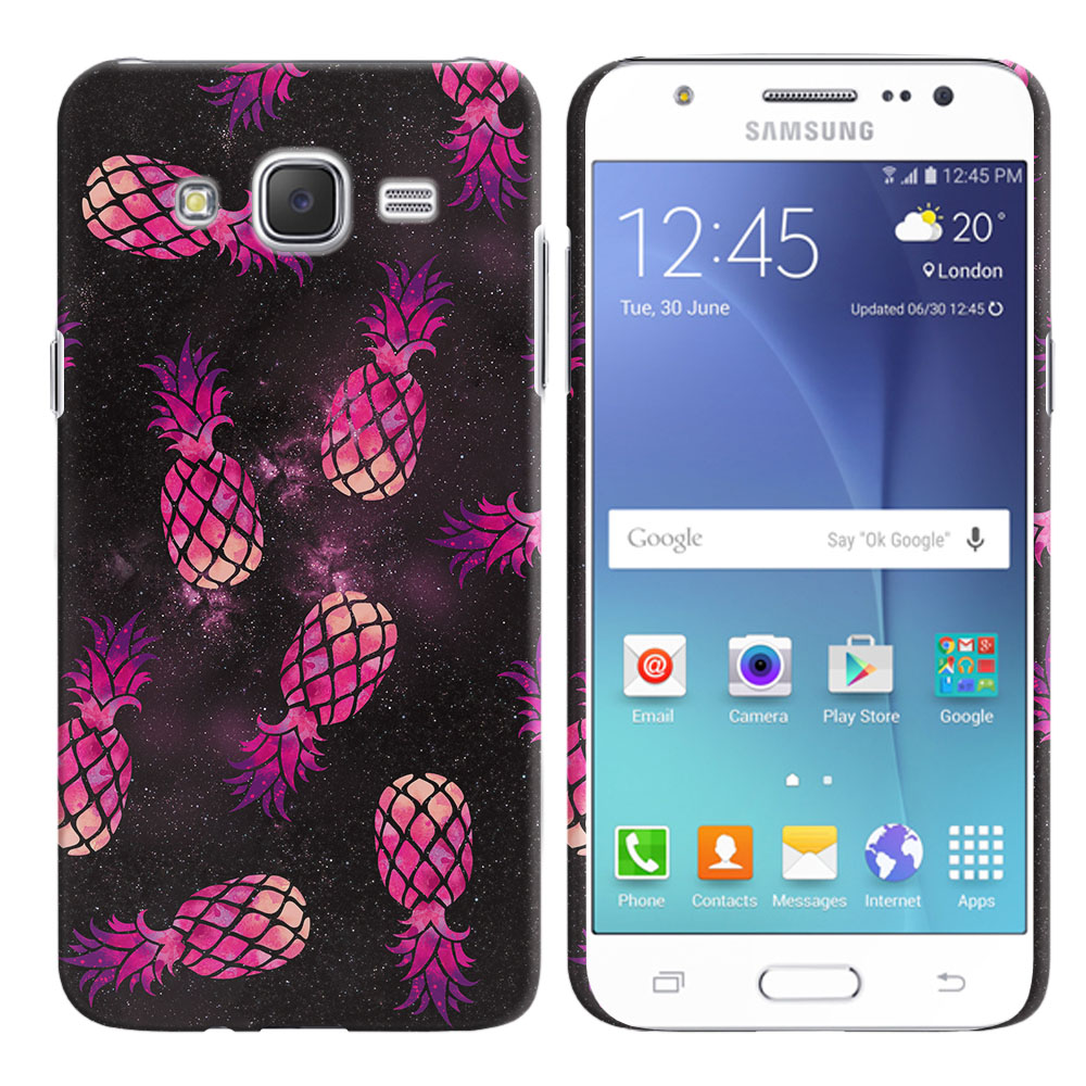 Samsung Galaxy J7 J700 Hot Pink Pineapple Pattern In Galaxy Back Cover Case