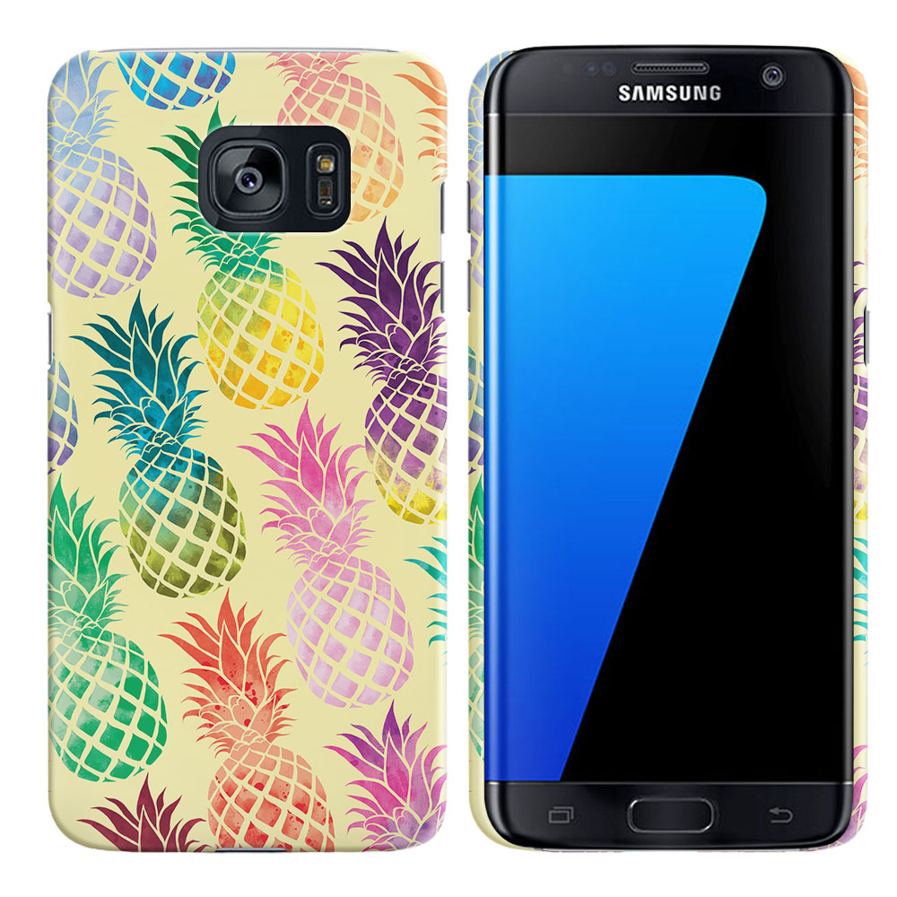 Samsung Galaxy S7 Edge G935 Pastel Colorful Pineapple Yellow Pastel Back Cover Case