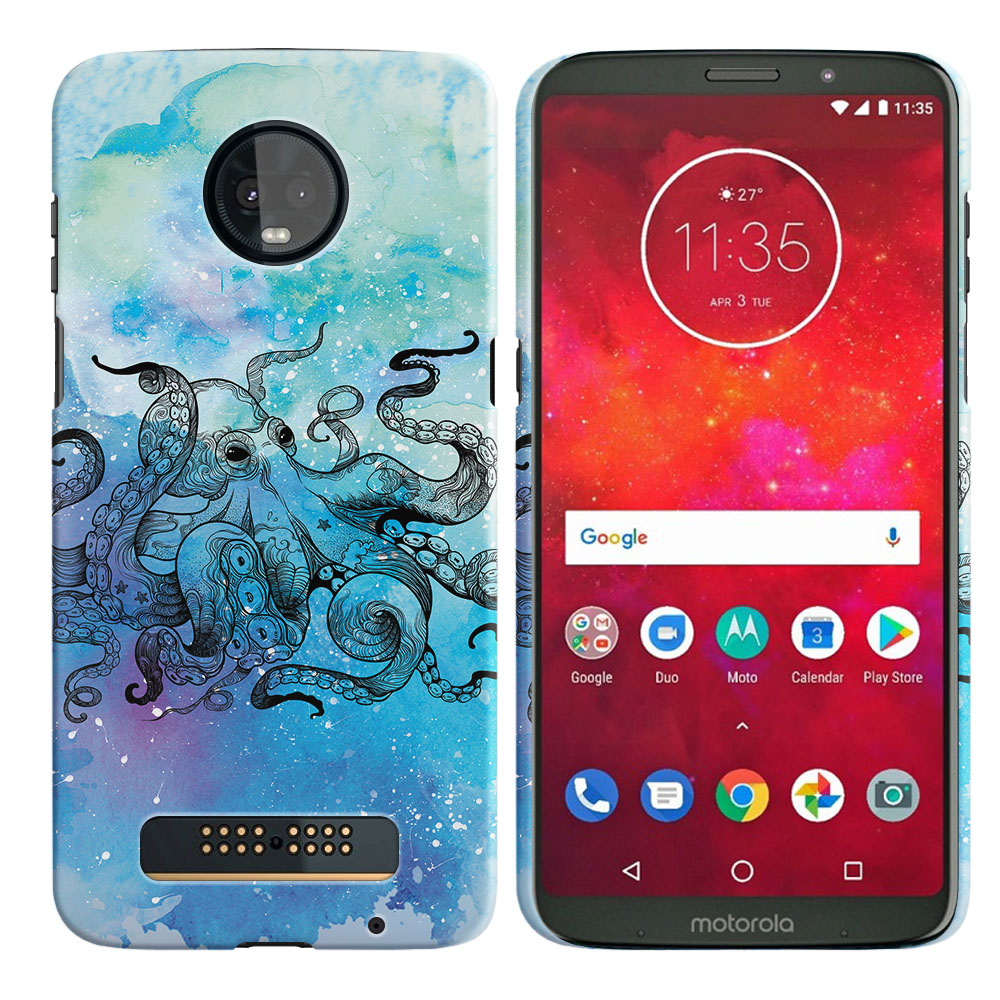 Motorola Moto Z3 Play Blue Water Octopus Back Cover Case